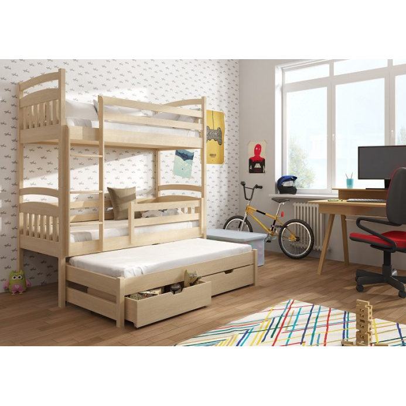 Levné Patrové postele s úložným prostorem: Dřevěná patrová postel s přistýlkou Fred