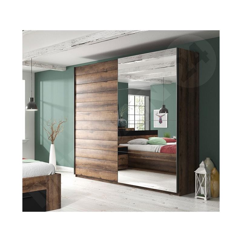 Levné Zrcadlové šatní skříně z lamina: Šatní skříň se zrcadlem Herb 7