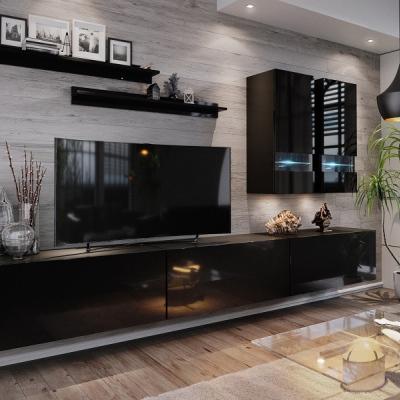 Levné Obývací stěny: Moderní černá obývací stěna EMAK