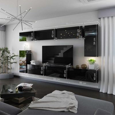 Levné Obývací stěny: Moderní bílá obývací stěna ASTEK