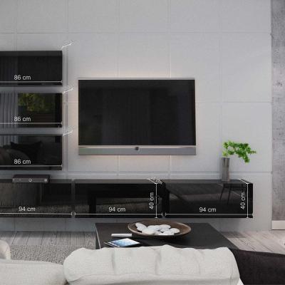 Levné Obývací stěny: Moderní černá obývací stěna MESI