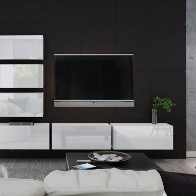Levné Obývací stěny: Moderní bílá obývací stěna MESI