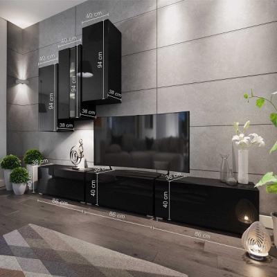 Levné Obývací stěny: Moderní bílá obývací stěna TARA