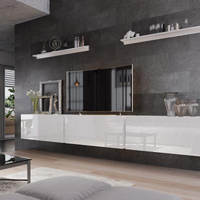 Levné Obývací stěny: Moderní bílá obývací stěna AMAL