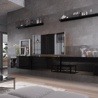 Levné Obývací stěny: Moderní černá obývací stěna AMAL