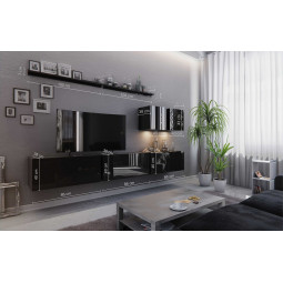 Levné Obývací stěny: Moderní bílá obývací stěna ZENIS