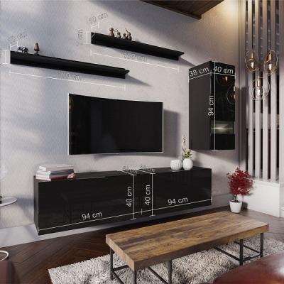 Levné Obývací stěny: Moderní černá obývací stěna DRAKO