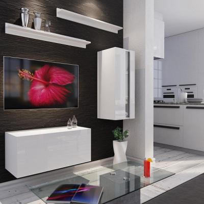 Levné Obývací stěny: Moderní bílá obývací stěna LENES