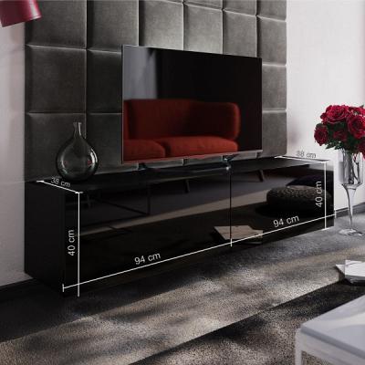 Levné Obývací stěny: Moderní černá obývací stěna PERSEN