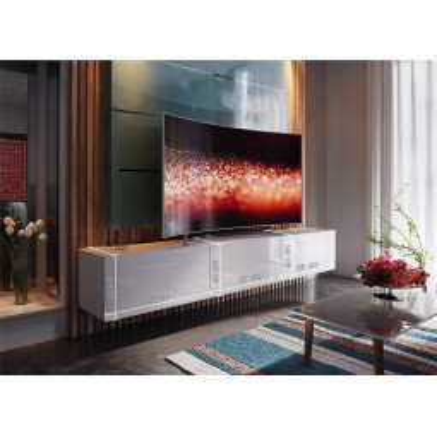 Levné Obývací stěny: Moderní bílá obývací stěna KARIN