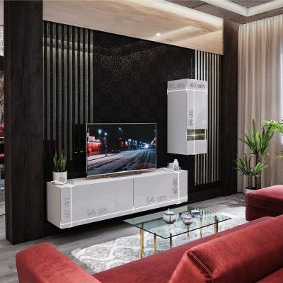 Levné Obývací stěny: Moderní bílá obývací stěna NAVARA