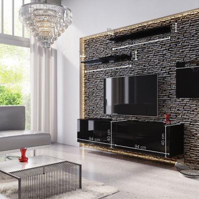 Levné Obývací stěny: Moderní černá obývací stěna KATAR