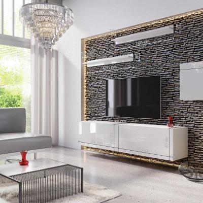 Levné Obývací stěny: Moderní bílá obývací stěna KATAR