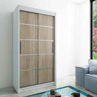 Levné Šatní skříně: Moderní šatní skříň Enni 120 v barvě bílá-dub sonoma