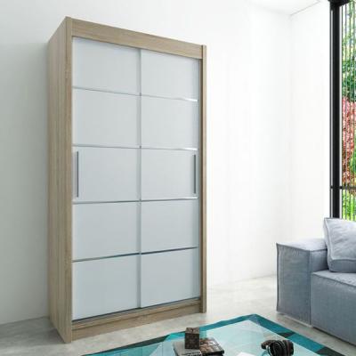 Levné Šatní skříně: Moderní šatní skříň Enni 120 v barvě dub sonoma-bílá