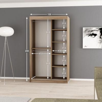 Levné Šatní skříně: Moderní šatní skříň Enni 120 v barvě wenge-bílá