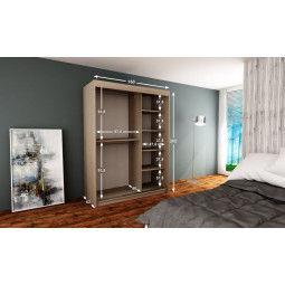 Levné Šatní skříně: Elegantn šatní skříň Enni 150 v barvě dub sonoma