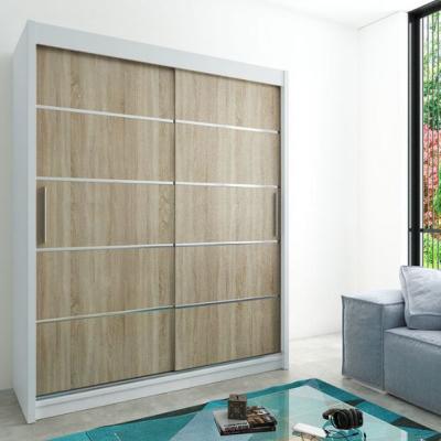 Levné Šatní skříně: Moderní šatní skříň s posuvnými dveřmi Enni 180 v barvě bílá-dub sonoma