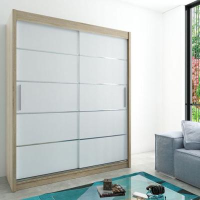 Levné Šatní skříně: Moderní šatní skříň s posuvnými dveřmi Enni 180 v barvě dub sonoma-bílá
