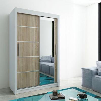 Levné Šatní skříně: Moderní šatní skříň s posuvnými dveřmi a zrcadlem Adéla 150 v barvě bílá-dub sonoma