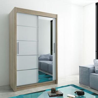 Levné Šatní skříně: Moderní šatní skříň s posuvnými dveřmi a zrcadlem Adéla 150 v barvě dub sonoma-bílá