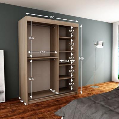 Levné Šatní skříně: Moderní šatní skříň s posuvnými dveřmi a zrcadlem Adéla 150 v barvě wenge-bílá