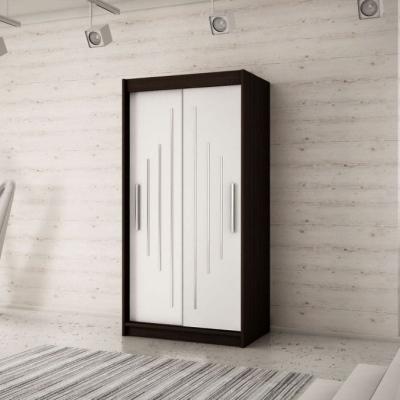 Levné Šatní skříně: Krásná šatní skříň Maria 120 v barvě wenge-bílá