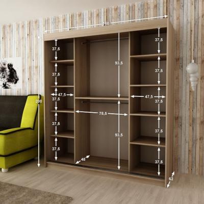 Levné Šatní skříně: Moderní šatní skříň s posuvnými dveřmi Ema 180 v barvě wenge-dub sonoma