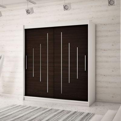 Levné Šatní skříně: Elegantní šatní skříň s posuvnými dveřmi Erika 200 v barvě bílá-wenge