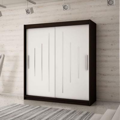 Levné Šatní skříně: Elegantní šatní skříň s posuvnými dveřmi Erika 200 v barvě wenge-bílá