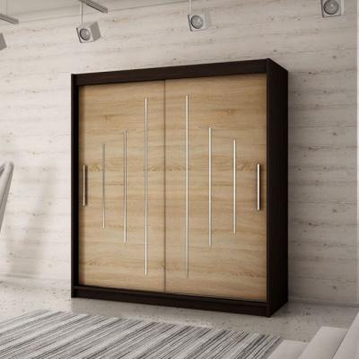 Levné Šatní skříně: Elegantní šatní skříň s posuvnými dveřmi Erika 200 v barvě wenge-dub sonoma