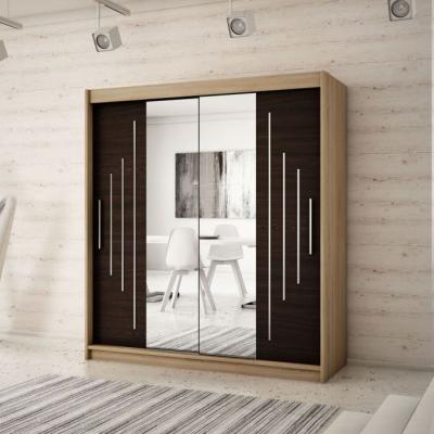 Levné Šatní skříně: Elegantní šatní skříň se zrcadlem Sofia 200 v barvě dub sonoma-wenge