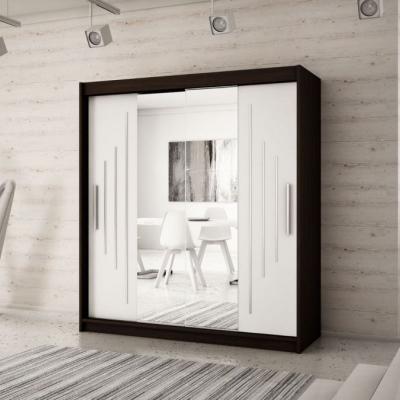 Levné Šatní skříně: Elegantní šatní skříň se zrcadlem Sofia 200 v barvě wenge-bílá