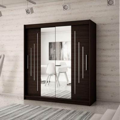 Levné Šatní skříně: Elegantní šatní skříň se zrcadlem Sofia 200 v barvě wenge