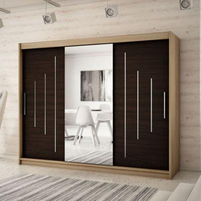 Levné Šatní skříně: Velká šatní skříň s posuvnými dveřmi a zrcadlem Anna 250 v barvě dub sonoma-wenge