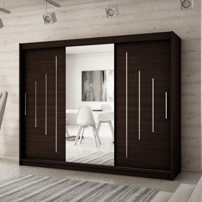 Levné Šatní skříně: Velká šatní skříň s posuvnými dveřmi a zrcadlem Anna 250 v barvě wenge