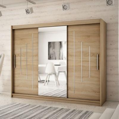 Levné Šatní skříně: Velká šatní skříň s posuvnými dveřmi a zrcadlem Anna 250 v barvě dub sonoma