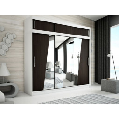 Levné Šatní skříně: Velká šatní skříň s posuvnými dveřmi a zrcadly Gabriela 250 v barvě bílá-wenge