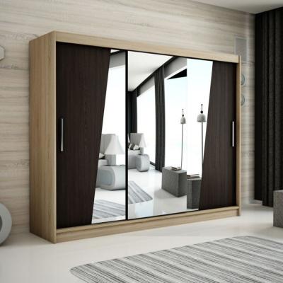 Levné Šatní skříně: Velká šatní skříň s posuvnými dveřmi a zrcadly Gabriela 250 v barvě dub sonoma-wenge