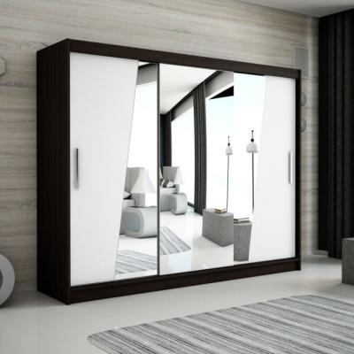 Levné Šatní skříně: Velká šatní skříň s posuvnými dveřmi a zrcadly Gabriela 250 v barvě wenge-bílá