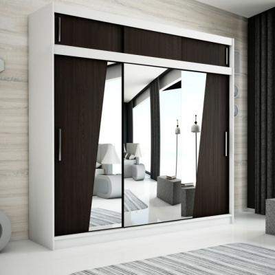 Levné Šatní skříně: Velká šatní skříň s posuvnými dveřmi a zrcadly Gabriela 250 v barvě wenge