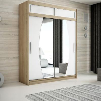 Levné Šatní skříně: Elegantní šatní skříň s oválnými zrcadly Liliana 200 v barvě wenge-bílá