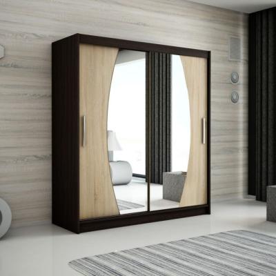 Levné Šatní skříně: Elegantní šatní skříň s oválnými zrcadly Liliana 200 v barvě wenge-dub sonoma