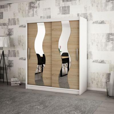 Levné Šatní skříně: Elegantní šatní skříň s ozdobnými zrcadly na posuvných dveřích Jesika 200 v barvě bílá - dub sonoma