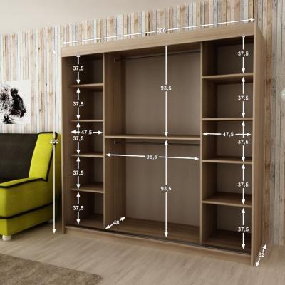 Levné Šatní skříně: Elegantní šatní skříň s ozdobnými zrcadly na posuvných dveřích Jesika 200 v barvě dub sonoma-bílá