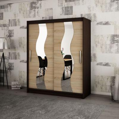 Levné Šatní skříně: Elegantní šatní skříň s ozdobnými zrcadly na posuvných dveřích Jesika 200 v barvě wenge-dub sonoma