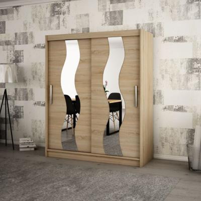 Levné Šatní skříně: Elegantní šatní skříň s ozdobnými zrcadly na posuvných dveřích Jesika 200 v barvě dub sonoma