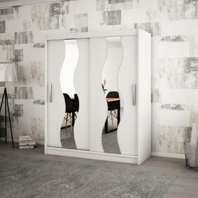 Levné Šatní skříně: Elegantní šatní skříň s ozdobnými zrcadly na posuvných dveřích Jesika 200 v barvě bílé
