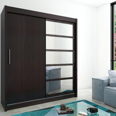 Levné Šatní skříně: Elegantní šatní skříň s jednými zrcadlovými dveřmi Denisa 200 v barvě wenge