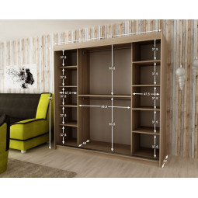 Levné Šatní skříně: Elegantní šatní skříň s posuvnými dveřmi a zrcadly Rozálie 200 v barvě bílá - dub sonoma